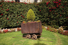 Erz-Förderwagen-Garten Guanajuato Mexiko stockfotografie