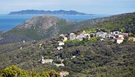Erza在盖帽Corse半岛北部密切联系  库存图片