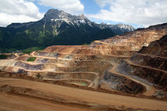 Erzberg. A very special mountain in austria - iron ore on the surface stock image