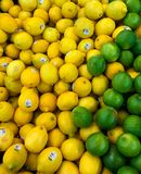 Erzeugnis-Abteilungs-Zitronen und Kalke Stockfotos