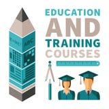 Erziehung und Ausbildungskurs-Vektorkonzept in der flachen Art vektor abbildung