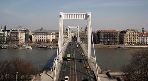 Erzsébet Bridge. Erzsébet / Elisabeth Bridge that spans Danube river in Budapest Royalty Free Stock Image