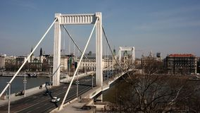 Erzsébet Bridge. Erzsébet / Elisabeth bridge that spans the Danube river in Budapest Stock Images