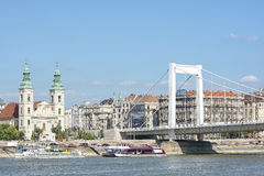 Erzsebet Bridge and Danube river, Budapest, Hungary Royalty Free Stock Photo
