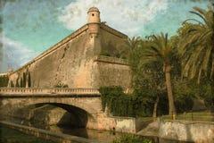 Es Baluard forteca w Palmie de Mallorca - rocznik Zdjęcie Royalty Free