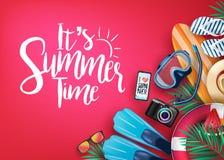 Es bandera realista del vector del tiempo de verano en fondo rojo y elementos tropicales stock de ilustración
