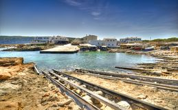 ES Calo镇在福门特拉岛 库存图片