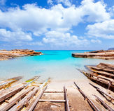 Es Calo de San Agusti port in Formentera island stock photo