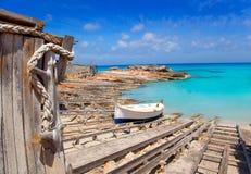 Es Calo de San Agusti port in Formentera island. Wooden boat railways Royalty Free Stock Photos