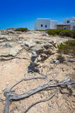 Es calo de san Agustin Beach white houses in Formentera Royalty Free Stock Image