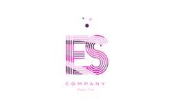 Es e s alphabet letter logo pink purple line icon template vecto Stock Photos