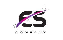 ES E S Black Letter Logo Design with Purple Magenta Swoosh Royalty Free Stock Photos