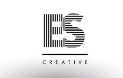 ES E S Black and White Lines Letter Logo Design. Royalty Free Stock Photos