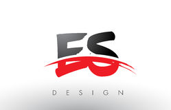 ES E S Brush Logo Letters with Red and Black Swoosh Brush Front Royalty Free Stock Photos