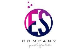 ES E S Circle Letter Logo Design with Purple Dots Bubbles Stock Photography