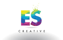 ES E S Colorful Letter Origami Triangles Design Vector. Stock Images
