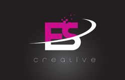 ES E S Creative Letters Design With White Pink Colors Royalty Free Stock Photography