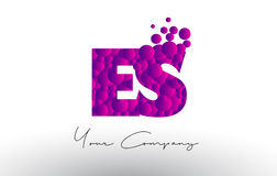 ES E S Dots Letter Logo with Purple Bubbles Texture. Royalty Free Stock Photography