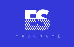 ES E S Dotted Letter Logo Design with Blue Background. Royalty Free Stock Photo