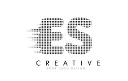 ES E S Letter Logo with Black Dots and Trails. Royalty Free Stock Photography