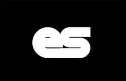 ES E S black white bold  joint letter logo Royalty Free Stock Photos