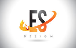 ES E S Letter Logo with Fire Flames Design and Orange Swoosh. Royalty Free Stock Photography