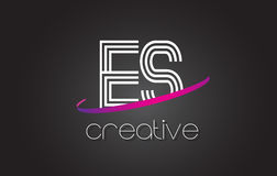 ES E S Letter Logo with Lines Design And Purple Swoosh. Royalty Free Stock Images