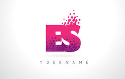 ES E S Letter Logo with Pink Purple Color and Particles Dots Des Royalty Free Stock Photo