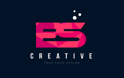 ES E S Letter Logo with Purple Low Poly Pink Triangles Concept Royalty Free Stock Image