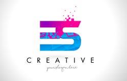 ES E S Letter Logo with Shattered Broken Blue Pink Texture Desig Royalty Free Stock Image