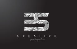 ES E S Letter Logo with Zebra Lines Texture Design Vector. Royalty Free Stock Image