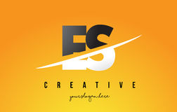 ES E S Letter Modern Logo Design with Yellow Background and Swoo Stock Photos