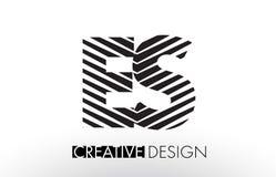 ES E S Lines Letter Design with Creative Elegant Zebra Stock Photos