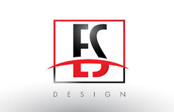 ES E S Logo Letters with Red and Black Colors and Swoosh. Stock Photo