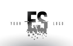 ES E S Pixel Letter Logo with Digital Shattered Black Squares Royalty Free Stock Image
