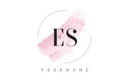 ES E S Watercolor Letter Logo Design with Circular Brush Pattern Stock Photos