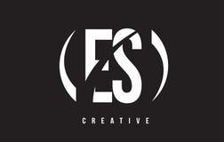 ES E S White Letter Logo Design with Black Background. Royalty Free Stock Photos