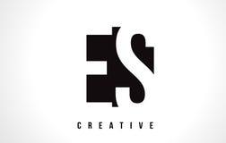 ES E S White Letter Logo Design with Black Square. Stock Images