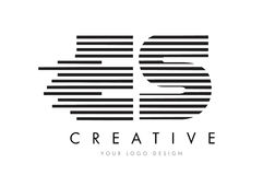ES E S Zebra Letter Logo Design with Black and White Stripes Royalty Free Stock Images