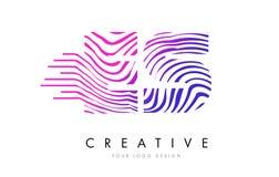 ES E S Zebra Lines Letter Logo Design with Magenta Colors Stock Photography