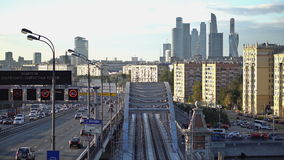 The ES2G Lastochka (Swallow) train on the Moscow Central Circle line. 2 viewpoints. UHD - 4K. Moscow. Russia. The ES2G Lastochka (Swallow) train on the Moscow stock footage