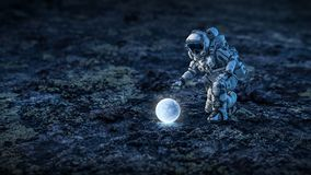 Es gibt Leben auf Mond Gemischte Medien Stockfotos