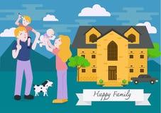 Es gibt 3 Mädchen und ihre Mutter, die auf der orange Couch sitzen Glückliche Familie, die mit nettem Lächeln gestikuliert Wohnun Stockbild