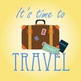 'Es hora de viajar' tarjeta Fotografía de archivo
