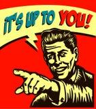 Es ist bis zu Ihnen! Retro- Geschäftsmann mit dem Zeigen der Fingeraufruf zum handelns-Illustration Stockbild