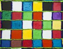 Es ist die geklebten Quadrate, die im Aquarell gemalt werden Stockbild
