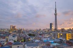 Es ist die 634 Meter Fernsehkontrollturm und angeordnet im Sumida Bezirk Stockbild