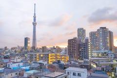 Es ist die 634 Meter Fernsehkontrollturm und angeordnet im Sumida Bezirk Lizenzfreie Stockfotografie