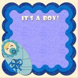 Es ist ein Junge! Geburtstagfilz-Grußkarte Lizenzfreie Stockbilder