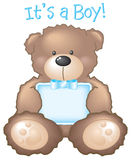 Es ist ein Junge! Teddybär u. Zeichen lizenzfreie abbildung